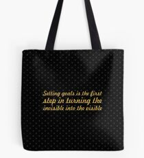 """Setting goals is the first... """"Tony Robbins"""" Inspirational Quote Tote Bag"""
