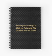 """Setting goals is the first... """"Tony Robbins"""" Inspirational Quote Spiral Notebook"""