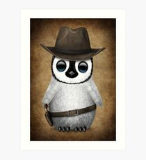 Cute Baby Penguin Wearing Cowboy Hat Art Print
