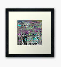 Glitch psychedelic background. Old TV screen error. Framed Print