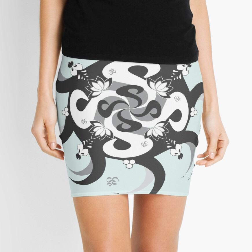 Shee Mandala Spiral with Om and Lotus Symbol Mini Skirt