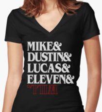 Trends Strange Mike & Lucas & Dustin & Eleven & Will Mens Gift Women's Fitted V-Neck T-Shirt