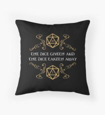 The Dice Giveth and Taketh Away Natural 20 and Critical Fail Throw Pillow