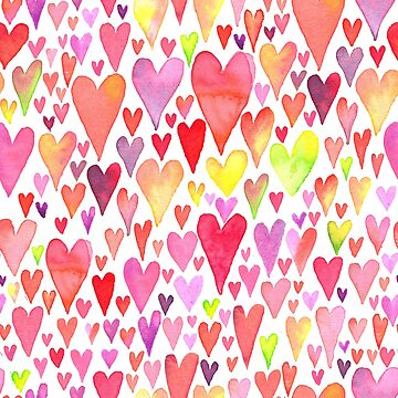 Watercolor hearts pattern by picbykate