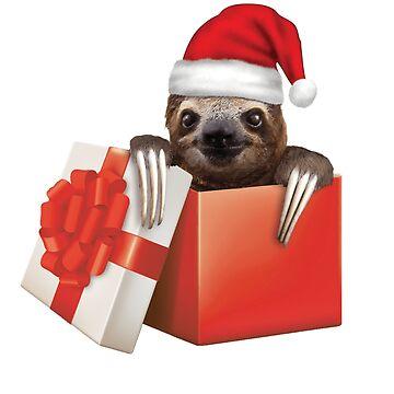 Sloth Present Christmas Holiday Santa Hat Cute Funny by TrendyTees12