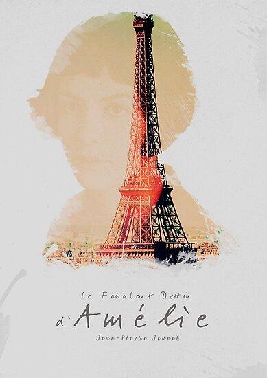 Amélie, Fine Art print, Jean-Pierre Jeunet, Audrey Tatou, giclee French movie poster, old classic cinema, Amelie by Spallutos