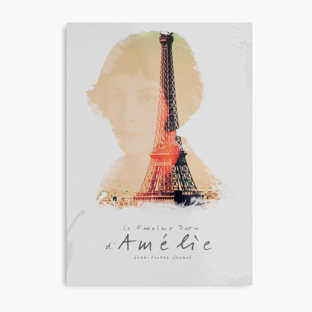 Amélie, Kunstdruck, Jean-Pierre Jeunet, Audrey Tatou, Giclee Französisches Filmplakat, altes klassisches Kino, Amelie Metallbild