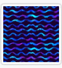 Watercolor pattern with brush stripes and waves. Sticker