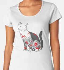 Cat in Cherry Blossom Tattoo Women's Premium T-Shirt