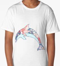 Paint Mixed Dolphin Design Long T-Shirt