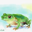 Green Shiny Frog Watercolor Painting by ibadishi