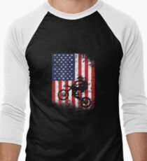 American Flag Motocross Dirtbike Baseball ¾ Sleeve T-Shirt