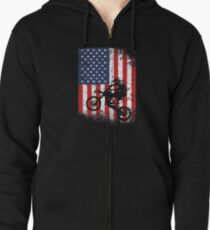 American Flag Motocross Dirtbike Zipped Hoodie