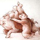 Hog and Monkeys by janelewisartist
