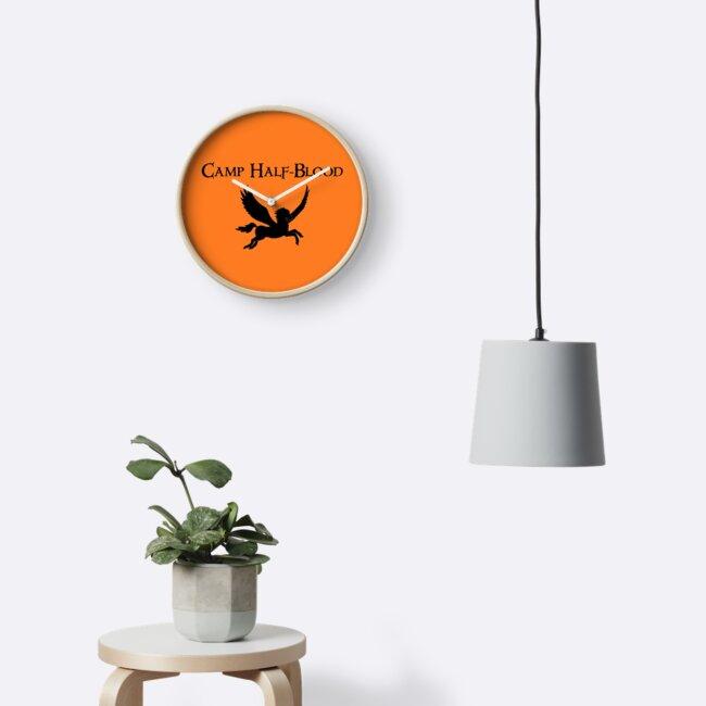 Camp Half Blood Logo Symbol Fan Fiction Geek Clocks By