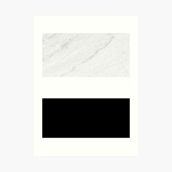 Marble Black White Color Block Modern Geometry Art Print