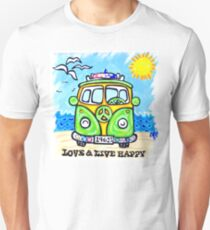 Love And Live Happy Peace Sign Beach Sunshine Waves Hippies Unisex T-Shirt