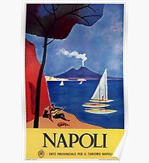 Napels Italy retro vintage travel ad Poster