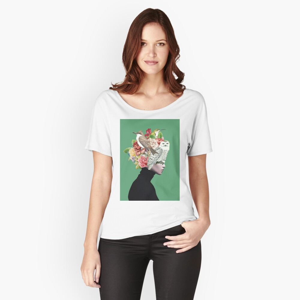 Lady with Birds(portrait) 2  Relaxed Fit T-Shirt