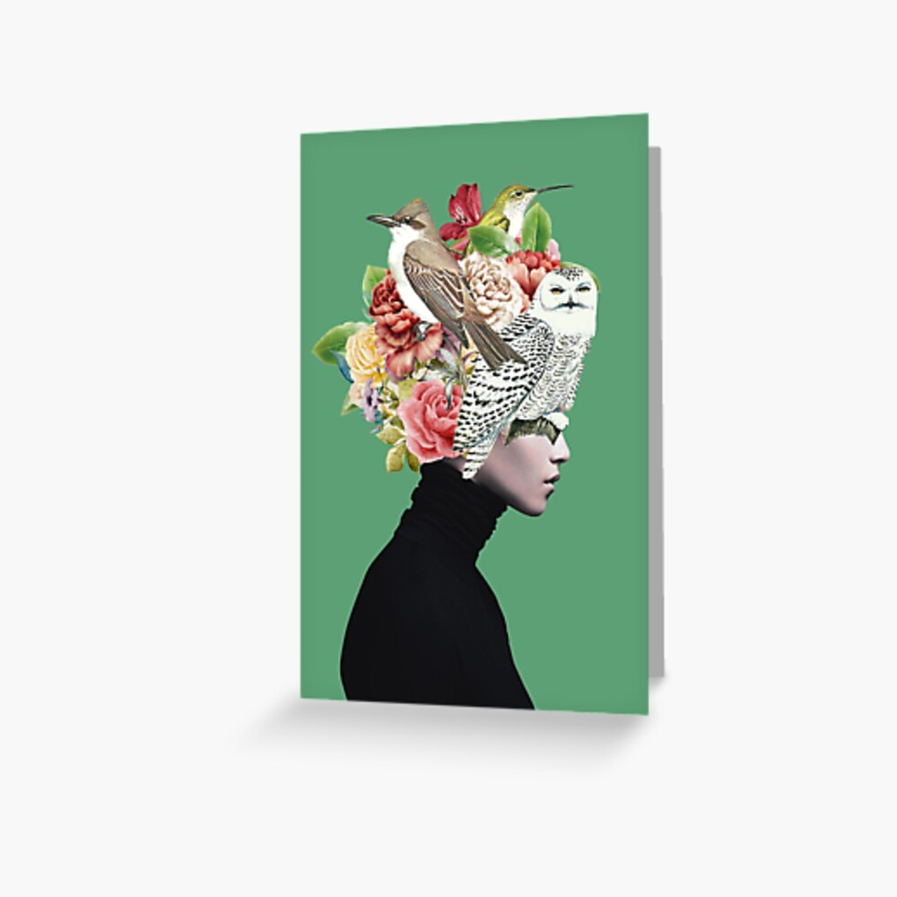 Lady with Birds(portrait) 2  Greeting Card