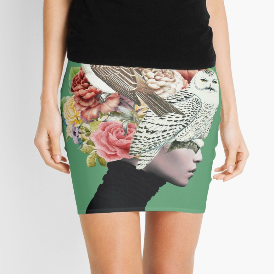 Lady with Birds(portrait) 2  Mini Skirt