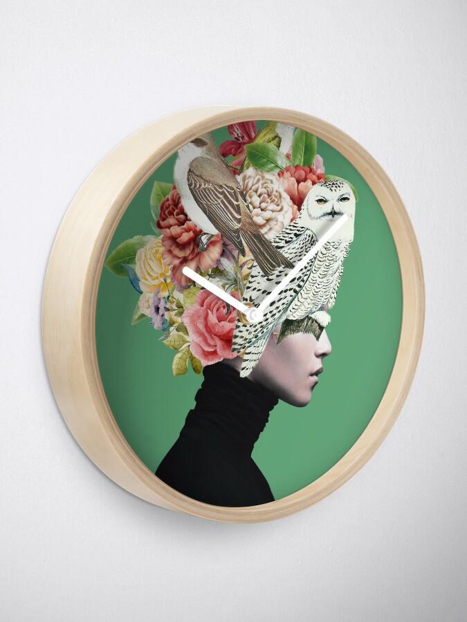 Alternate view of Lady with Birds(portrait) 2  Clock