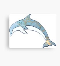 Dolphin with Metallic Gold Accents Canvas Print
