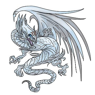 Old Style Blue-Eyes White Dragon  by daoustdraws