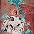 Long Skull cat with mushrooms by HidingMonster