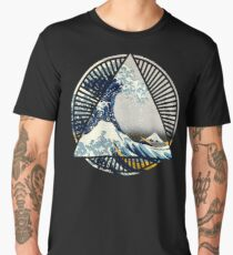 Vintage Hokusai Mount Fuji Great Tsunami Wave Japanese Geometric Manga Shirt Men's Premium T-Shirt