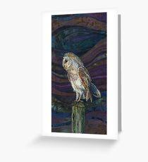 On High Alert - Barn Owl Embroidery - Textile Art Greeting Card