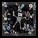 Crazy MonkeyTeddyBären mit Skelett - Pastell auf schwarzem Muster von XOOXOO