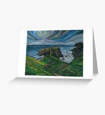 To the Very Edge - Coastal Path Embroidery - Textile Art Greeting Card