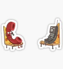Phone People On Pizza Chairs Sticker