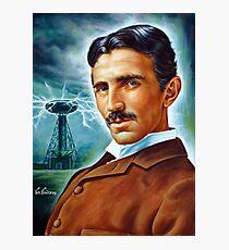Nikola Tesla Tower scientist, painting portrait Photographic Print
