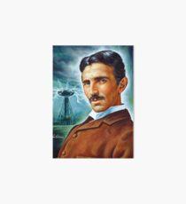 Nikola Tesla Tower scientist, painting portrait Art Board
