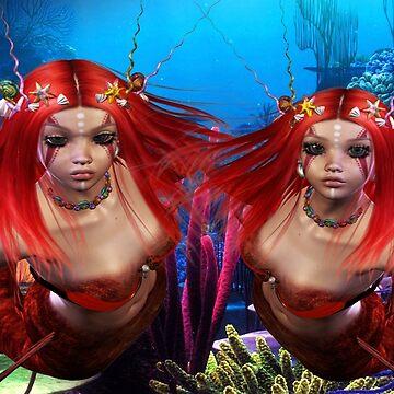 Tribal Fire Mermaid Twins by FractalKing
