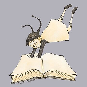 Girl Diving into a Good Book Drawstring Bag - Design by Jennifer Latham Robinson - Ditch Frame by DitchFrame
