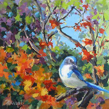 Jay's World - Colorful Bird Painting by karenilari