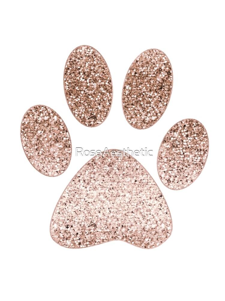 Impresión de la pata de oro rosa brillante de RoseAesthetic
