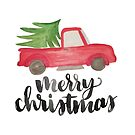 Merry Christmas Truck with Tree by cococreatess