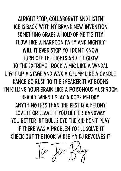 Ice ice baby Vanilla Ice Hip Hop lyric mucis classic by HoneymoonHotel