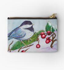 Chickadee - Winter Bird 1 Studio Pouch