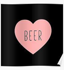 I Love Beer Heart Black Poster