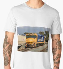 Train locomotive engine, blue & yellow Men's Premium T-Shirt