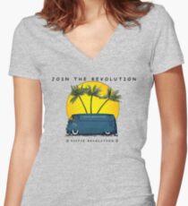 Hippie Revolution Panel Van Women's Fitted V-Neck T-Shirt