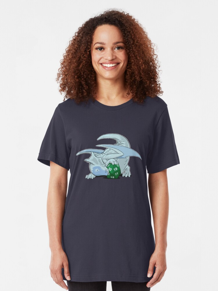 Alternate view of D20 White Dragon Slim Fit T-Shirt