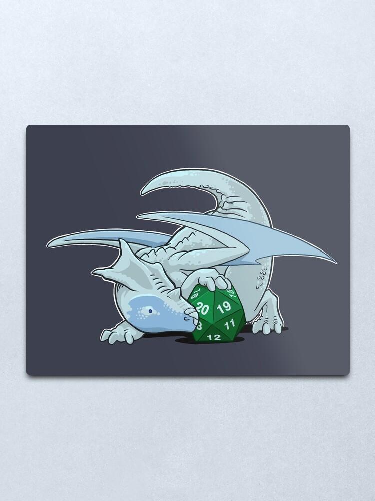 Alternate view of D20 White Dragon Metal Print