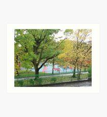 Empty playground in autumn Art Print