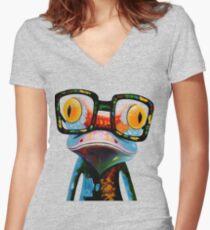 Hipster Frog Nerd Glasses Women's Fitted V-Neck T-Shirt